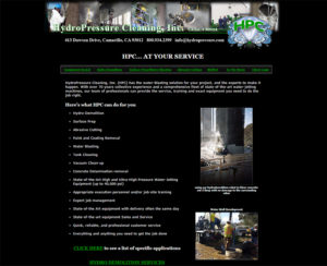 hydropressure.com, custom designed hand-coded website