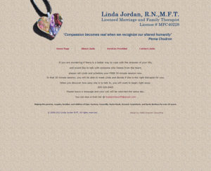 lindajordanmft.com, custom designed hand-coded website