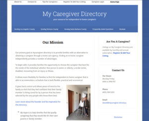 mycaregiver.directory, WordPress website, maintenance & hosting