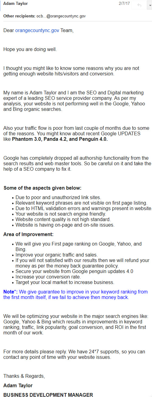 seo junk email