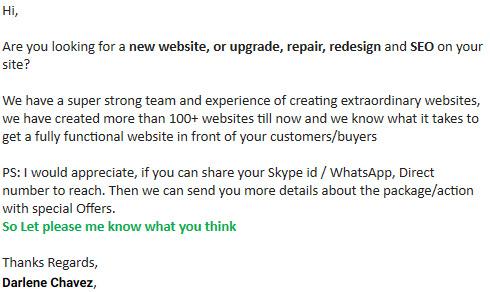 website junk email