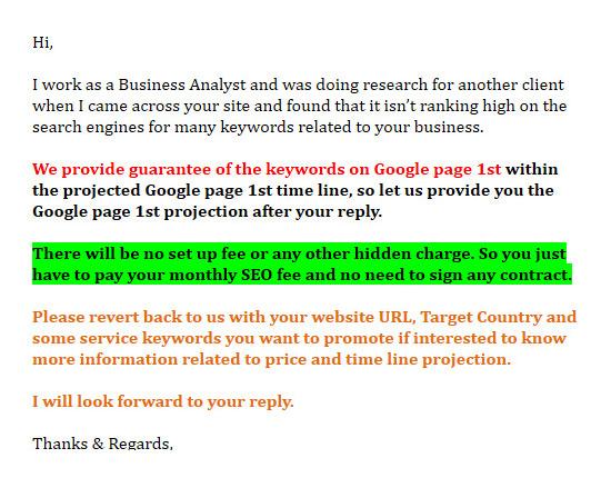 seo website junk email