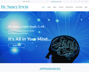 of drnancyirwin.com home page, custom WordPress design